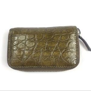 Gucci #250983 Brown Crocodile Zip Around Card Case